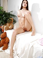 Cute teen hottie celeste pushe her sweet boobies together her nipples are huge too