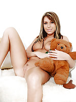 Sexy teen hottie courtney sits and gets naked playing with her teddybear