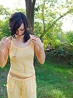 Innocent looking teen enjoys nature tripping watch her nipples showing off
