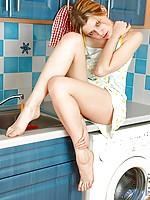 Flirtacious nubile viktoria lets the water flow down her mesmerizing teen frame