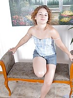 Cute teen nubile karma sits on the bed all ready to strip out of her clothes