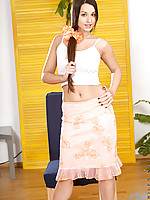 Nubile sexpot ennie flashes her tight and tender teen honeyhole.