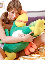 Perfect nubile anny plays with her pet parrot