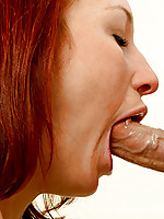 Sizzling red headed nubile kyra sucks on a thick veiny cock