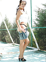 Brunette siren valley massages her ample teen breasts under the cooling shade of the gazeebo