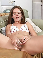 Hot kimber goes to town masturbating with a giant glass dildo