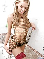 Crazy cute skinny girl gets her clothes off and has some naked fun