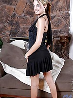 Seductive tatooed paris in black lingeries and dress posing sweet and sexy