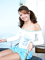 Rubbing her perky teen tits and nipples Olga shows us how she likes to be touched