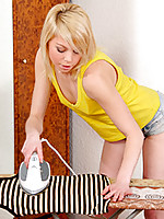 As the iron heats up so does the tight pussy of naughty teen Elisa