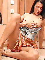 Tiny tits on this dark haired nubile vixen