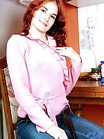 Innocent red headed teen katlyn slowly removes her clothing