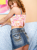 Hot teen Sue in nice jean skirt teasing you with her sweet smile and sexy poses