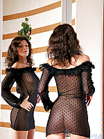 Stunning nubiles newbie in see through frilly evening wear looks fabulously hot
