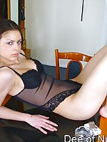 Nubile cutie stripping and posing
