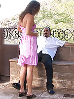 Exhibitionist Nubile Nadea sucks a cock outside on a windy day