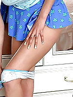 Cute nubile hottie chloe pulls her panties off from under her blue skirt