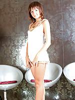 Short haired brunette teen flaunts her immaculate teen frame