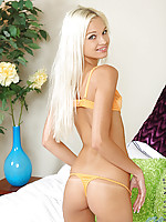 Absolutely stunning blonde Nubile Franziska prepares to please her pussy