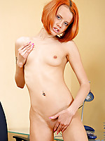 Petite Nubile Marilyn lets the water from the shower head massage her clit